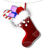 Sock with gifts. Vector art illustration for Christmas Royalty Free Stock Photos