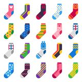 Sock icon. Sport long socks, kids feet clothes and striped warm hosiery isolated vector flat set royalty free illustration