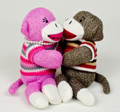 Sock Monkey Embrace Royalty Free Stock Image
