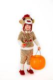 Sock Monkey Halloween Costume. A two year old dressed up in a sock monkey halloween costume and ready to go out and trick-or-treat in the neighborhood for the Stock Images