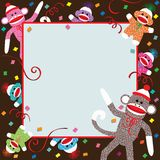 Sock Monkey Party Invitation. Momma, Daddy and colorful baby sock monkeys celebrate a Birthday party stock illustration