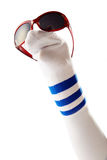 Sock puppet with sunglasses Royalty Free Stock Images