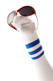 Sock puppet with sunglasses Royalty Free Stock Photos