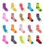 Sock set icons. Socks collection, flat design. Vector illustration Stock Images