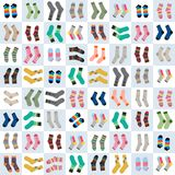 Sock. Vector Pattern. Illustration. Beautiful socks on a background of squares Stock Image