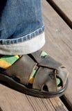 Socka och sandal Fotografering för Bildbyråer