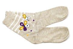 Socke auf Weiß Lizenzfreies Stockfoto