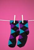 Socken auf der Zeile Stockfoto