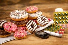 Socker avbryter vård- vanlig kontroll är en indikator av hälsa - hälsovård royaltyfri bild
