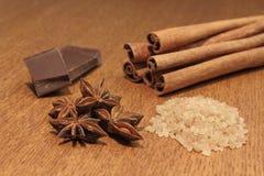socker för brun choklad för anise kanelbrunt Arkivbilder