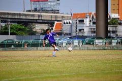 Socker kick the ball from socker in thailand Royalty Free Stock Photography
