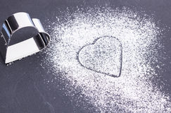 Sockerhjärta på plattan Royaltyfri Bild