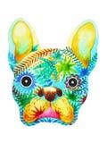 Sockerskalle för fransk bulldogg, gullig hunddag för frenchie av dödaen Arkivfoton