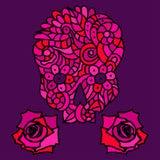 Sockerskalle och rosor Arkivfoton
