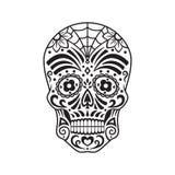 Sockerskalle svart tatuering Mexicansk dag av dödaen också vektor för coreldrawillustration vektor illustrationer