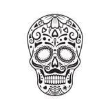 Sockerskalle svart tatuering Mexicansk dag av dödaen också vektor för coreldrawillustration stock illustrationer