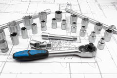 Socket. For chrome socket wrench. Isolated on plan from house stock images