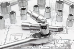 Socket. For chrome socket wrench. Isolated on plan from house stock photos