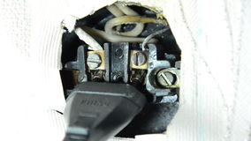Socket in a dangerous condition, Plug in Electricity Outlet stock video