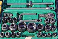 Hex sockets. Socket hex tools set equipment in box royalty free stock image