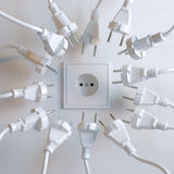 Socket And Plugs in White Interior Royalty Free Stock Photos