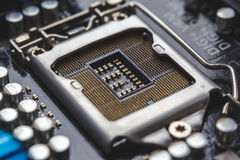 Socket for processor or cpu, macro photo. Electronic computer hardware technolog Royalty Free Stock Photos