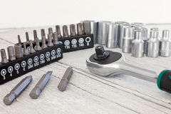 Socket set with a socket spanner or wrench Stock Photography
