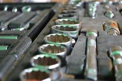 Socket set. Used tool box/ socket set Royalty Free Stock Image