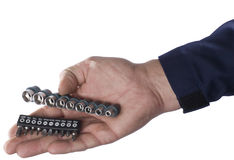 Socket spanner and   of nozzles. For a screw-driver with a replaceable working surface Stock Photo