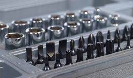 Socket spanner and screwdriver bit set Royalty Free Stock Image