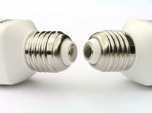 Socket of two power saving light bulbs Stock Images