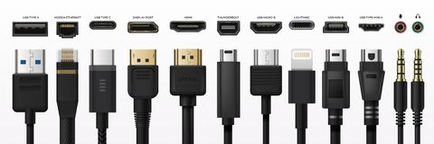 Free Socket Usb Plug In. Type-c Port USB Connector Replacing Type A Micro And Mini USB, 3, 5 Mm Jack Charge Connector, Hand Royalty Free Stock Images - 167351839