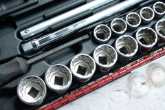 Socket wrench set. In toolbox stock images