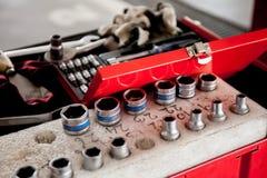 Socket wrench set in car garage Royalty Free Stock Image