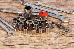 Socket wrench set. On work table stock photography