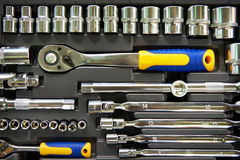 Socket wrenches in box stock photo