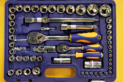 Socket wrenches in plastic box royalty free stock photos