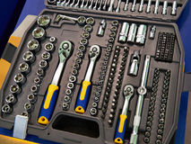 Socket wrenches in plastic box royalty free stock images
