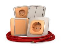 Socket y cable del enchufe Foto de archivo libre de regalías
