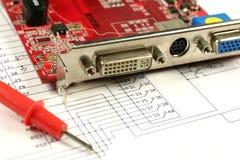 Sockets on circuit printed board Royalty Free Stock Image