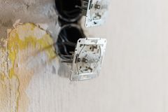 Sockets and electrical wires Stock Photo