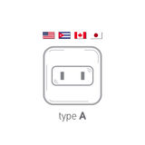 Sockets icon. Type A. AC power sockets realistic illustration. Different type power socket set, vector isolated icon Stock Images