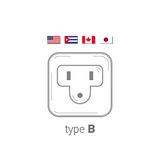 Sockets icon. Type B. AC power sockets realistic illustration. Different type power socket set, vector isolated icon Royalty Free Stock Photography