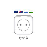 Sockets icon. Type C. AC power sockets realistic illustration. Different type power socket set, vector isolated icon Royalty Free Stock Photo