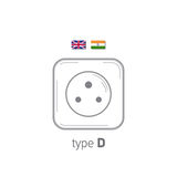 Sockets icon. Type D. AC power sockets realistic illustration. Different type power socket set, vector isolated icon Stock Photography