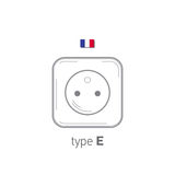 Sockets icon. Type E. AC power sockets realistic illustration. Different type power socket set, vector isolated icon Stock Photography