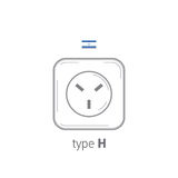Sockets icon. Type H. AC power sockets realistic illustration. Different type power socket set, vector isolated icon Stock Photography