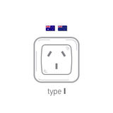 Sockets icon. Type I. AC power sockets realistic illustration. Different type power socket set, vector isolated icon Royalty Free Stock Image