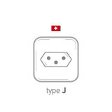 Sockets icon. Type J. AC power sockets realistic illustration. Different type power socket set, vector isolated icon Stock Photography