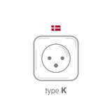 Sockets icon. Type K. AC power sockets realistic illustration. Different type power socket set, vector isolated icon Royalty Free Stock Images